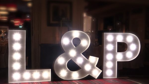 L & P monogram light decoration
