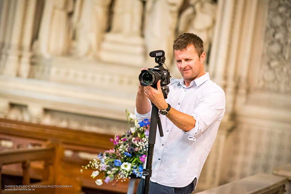 Gavin from Callaghan Productions shooting video at wedding