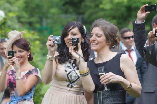 Guests recording wedding using MyDayMyWay service.